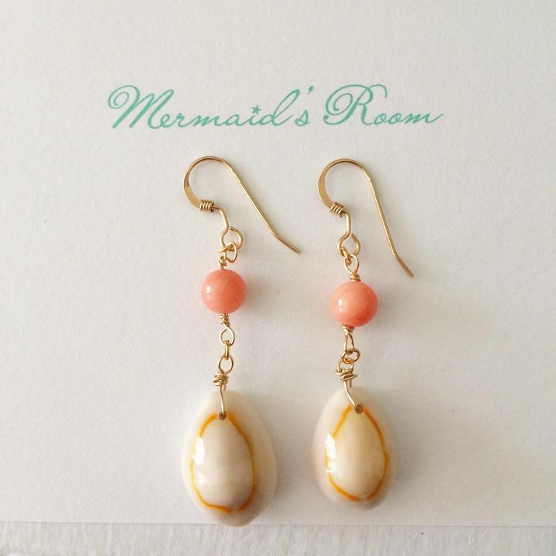 K14GF shell&coral earrings...❤︎