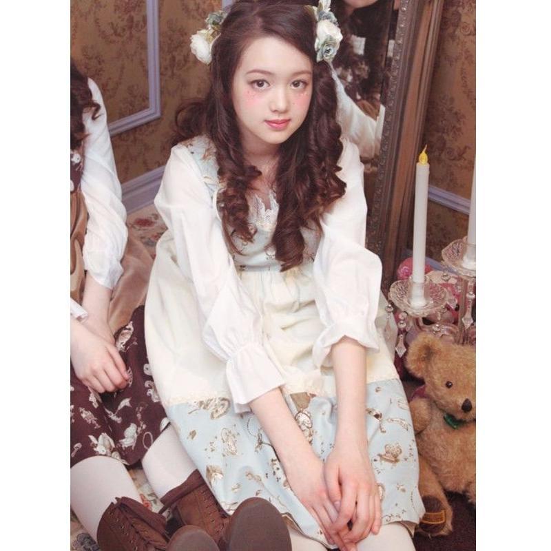 アンティークアリス別珍ドレス-ポースレンミルク