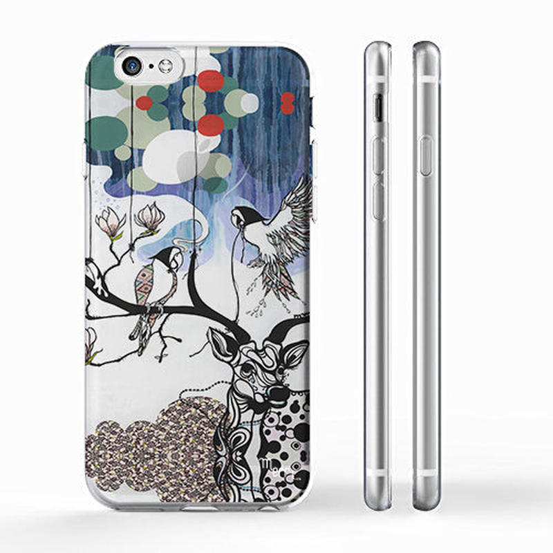 """""""AIR"""" 鹿とインコとモクレン  iPhone 6/6s/5/5s/6plus/6s plus Cover [ soft / hard ]"""