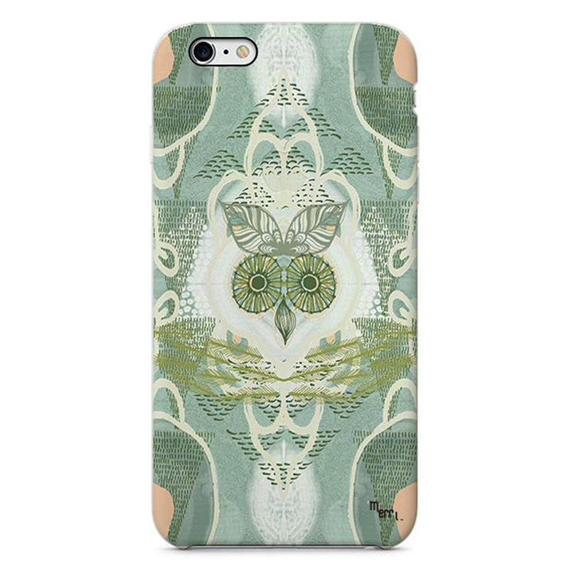 "iPhone Cover  ""Forest Owl"" green フクロウ"