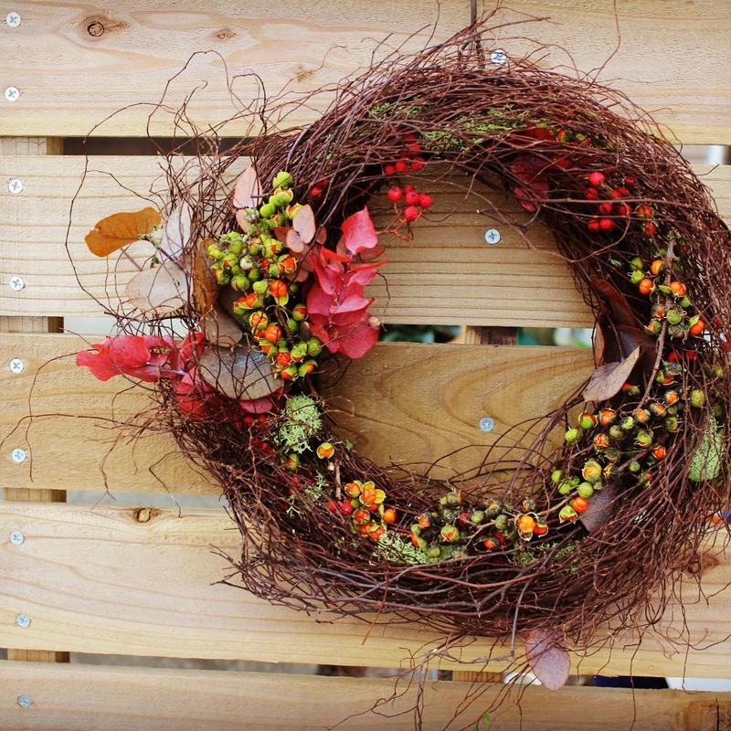 ツルウメモドキの秋色リース