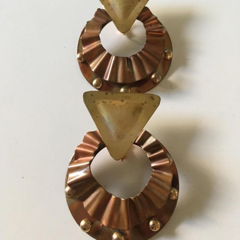 70s vintage brutalist metal earrings
