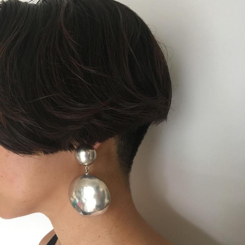 Vintage modernist large sterling silver pierced earrings