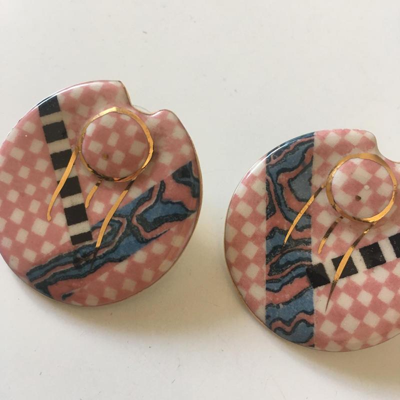 Vintage 80s ceramic pierced earrings