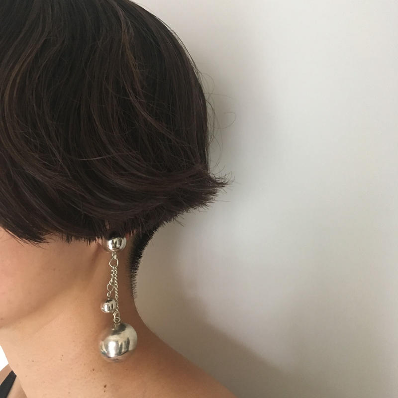Vintage modernist silver metal pierced earrings