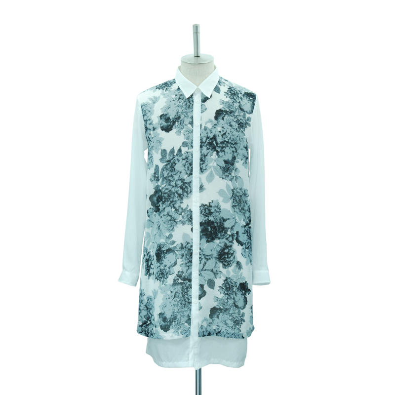 Flower Layered Long Shirt