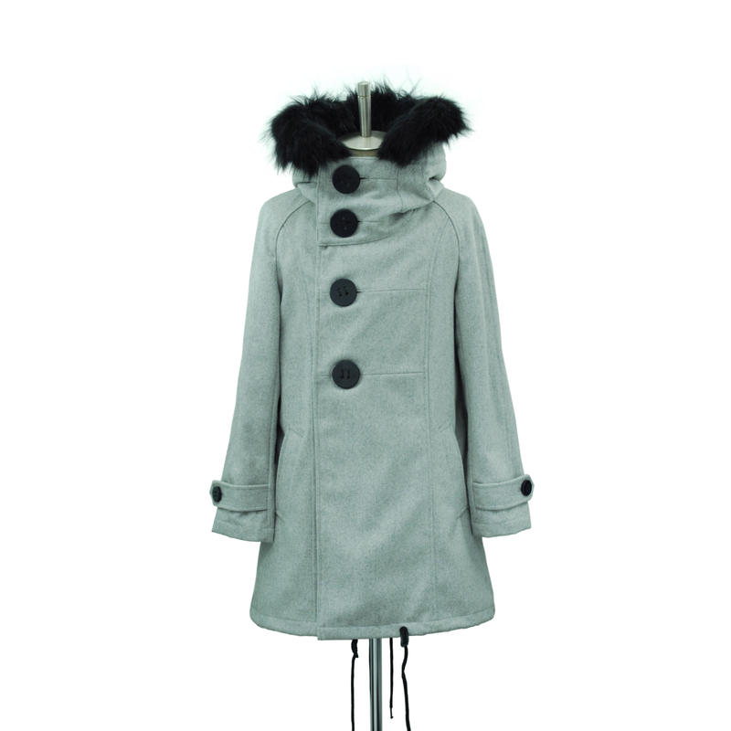 【Last1】Big Button Hooded Coat / Light Gray