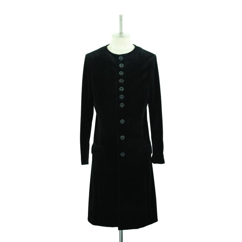 【Last1】No Collar Velour Long Coat