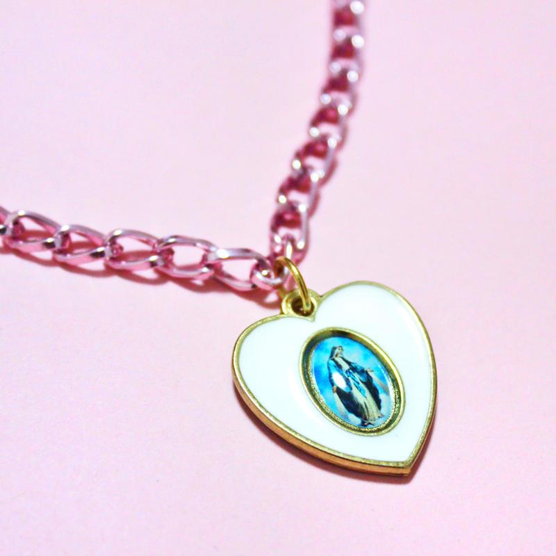 ハートマリア様メダイピンクネックレス Heart Maria pink Necklace