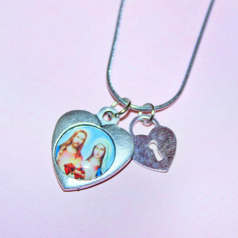 ハートメダイ&ハート鍵穴ネックレス Heart Medal & Heart Keyhole  Necklace