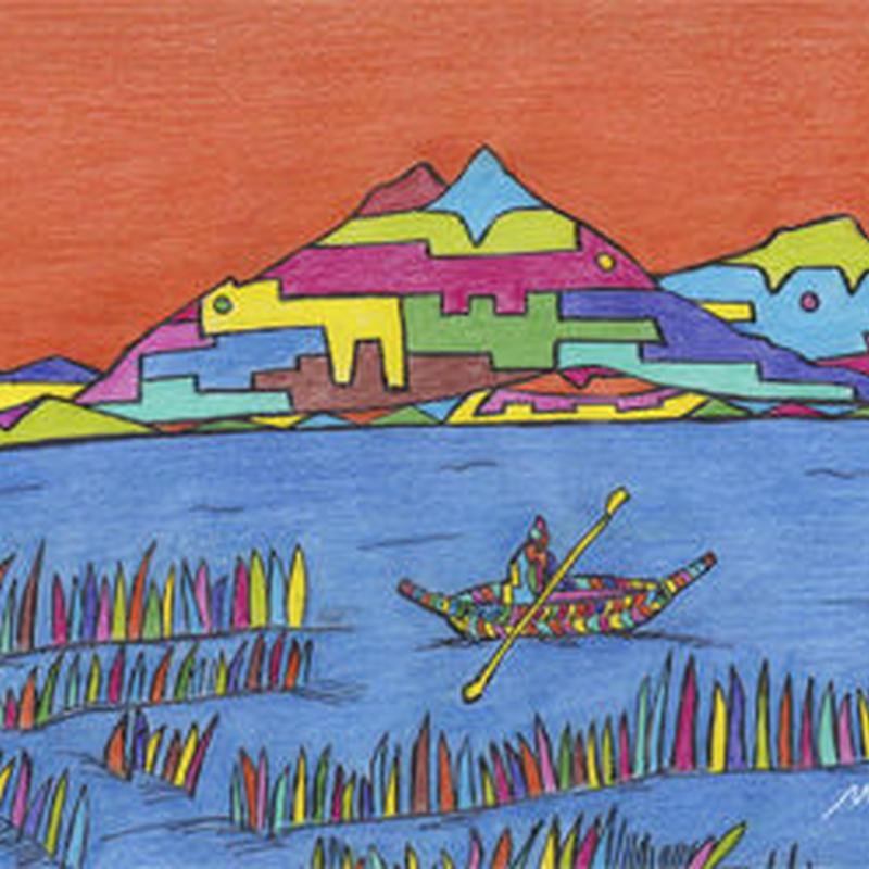 ミゲルリマ ポストカード「チチカカ湖の色彩」