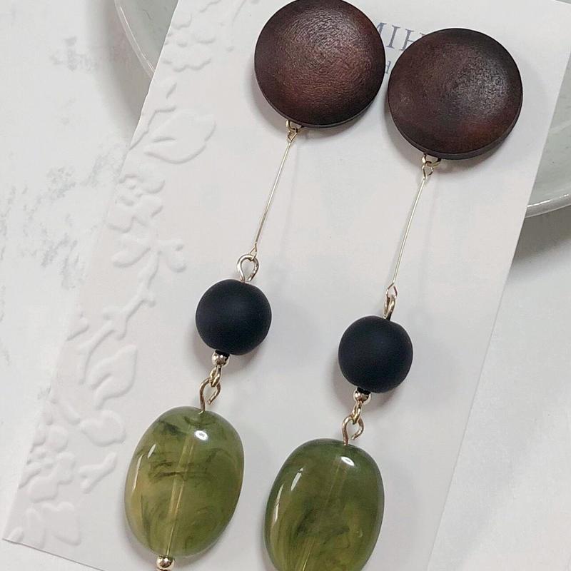 Metal × Stone(green)〈ピアス〉