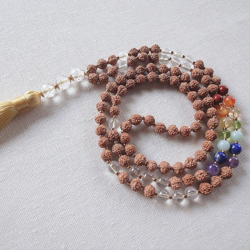 ルドラクシャとチャクラカラー天然石のマーラー・ネックレス [MALA-Chakra30]