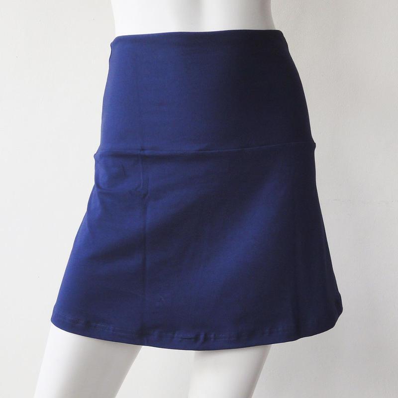 ショートスカート コットンスパンデックス薄手 ミッドナイトブルー [YS.02CL/L-MIDNIGHT BLUE]