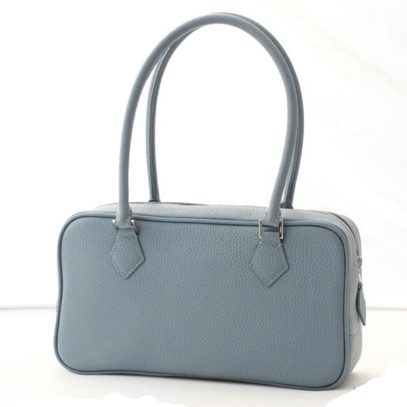 square leather bag iceblue