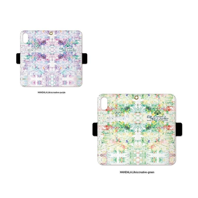 手帳型iPhone case>>>MANDALA Life is creative-2color