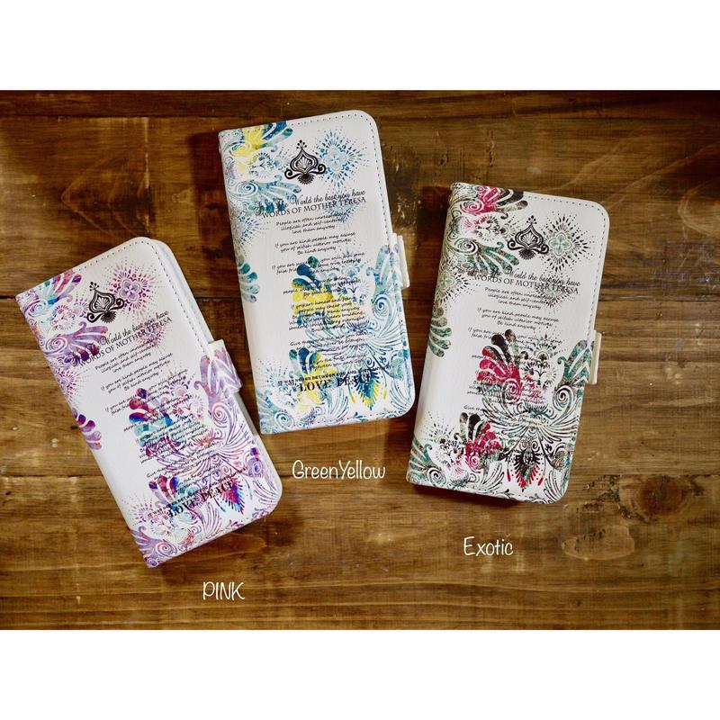 手帳型iPhone case>>>★ FLY-WORD OF MOTHERTERESA-3color-PINK/GreenYellow/Exotic