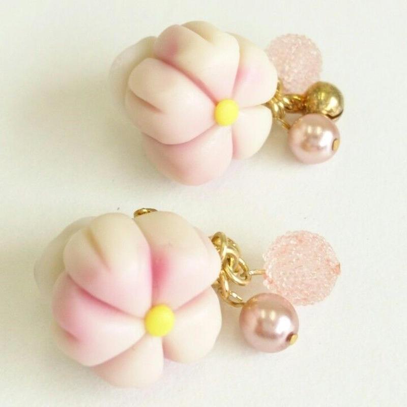和菓子 アクセサリー イヤリング ピンク