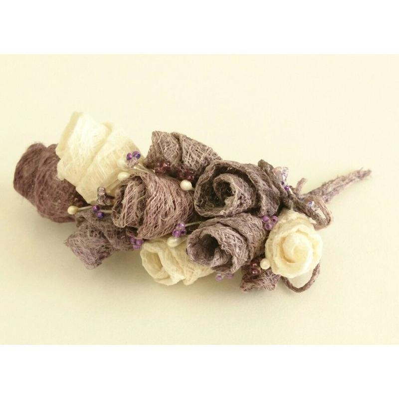 こうぞ和紙 コサージュ 紫色