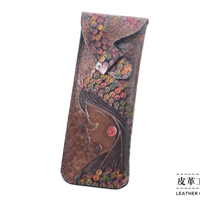 ペンケース 横顔 茶【13PC-GF-DB】