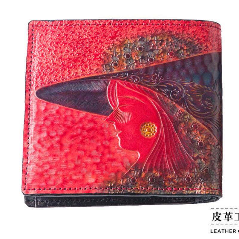 二つ折り財布 箱 横顔 赤【07FWB-GF-RD】