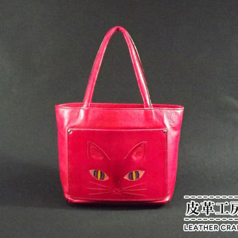 手提げバッグ 赤 ネコ【TB003】