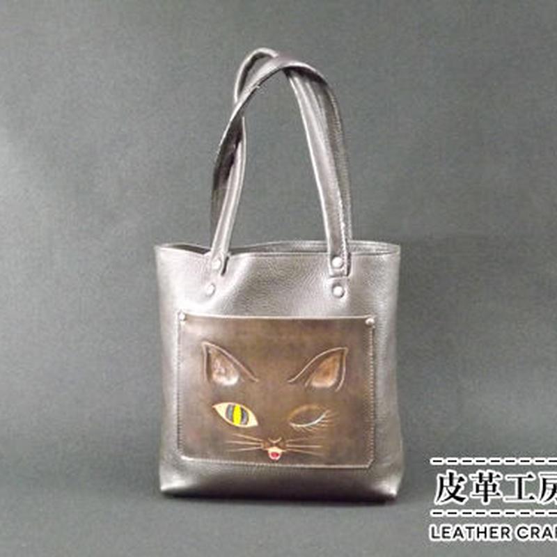 手提げバッグ こげ茶 ネコ【TB002】