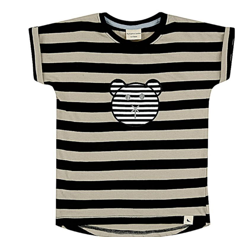 【turtledove  london】Long Length T - Stripe Character Applique