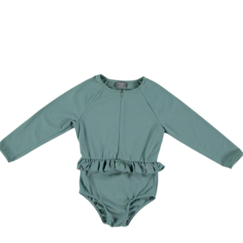 last 1【tocoto vintage 】 rainbow symphony long sleeve swimsuit UPF 50+ - green