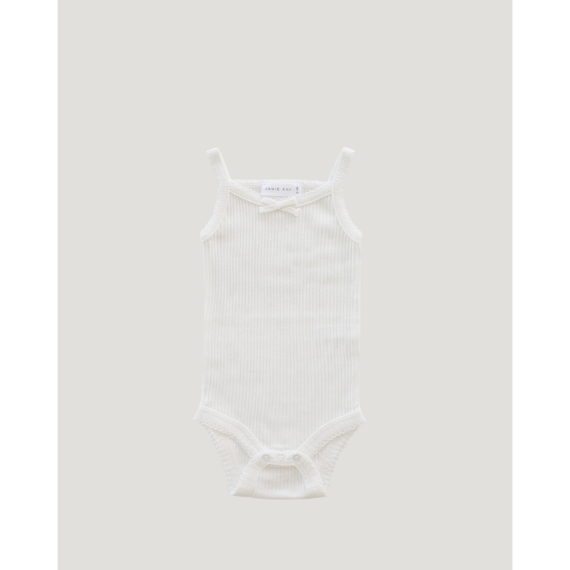 【Jamie kay】   Cotton Modal Singlet Bodysuit - milk