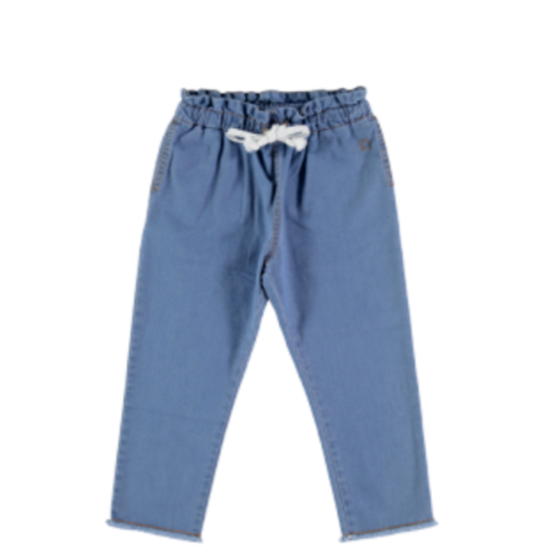 last 1【tocoto vintage】light denim pyjamas style trousers with waistcord - denim