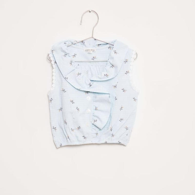 last 1【fish&kids】FROWER CROP BLOUSE