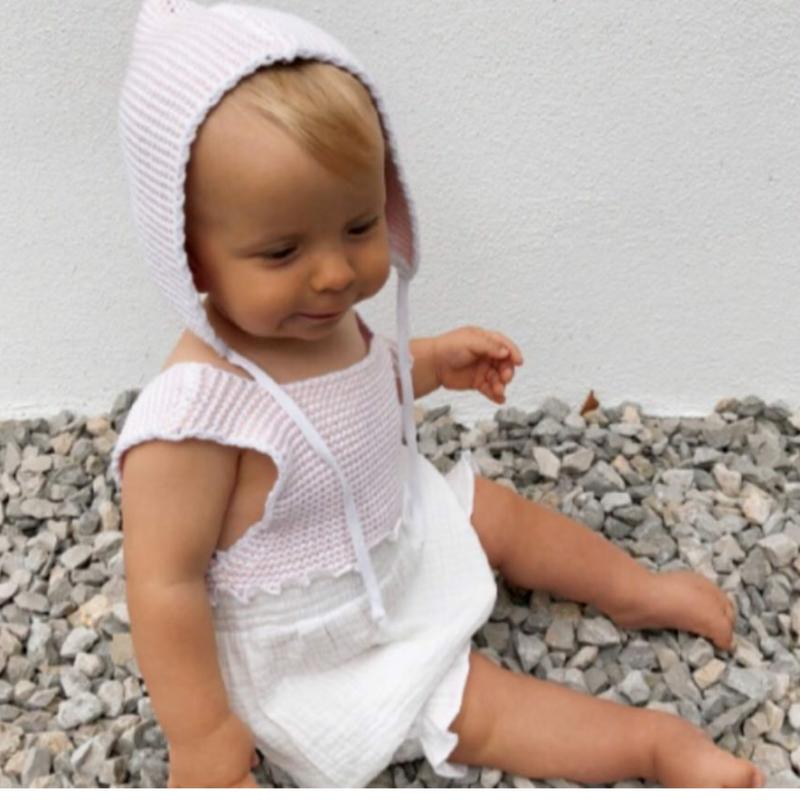 【liilu】 knit combi romper - pale pink