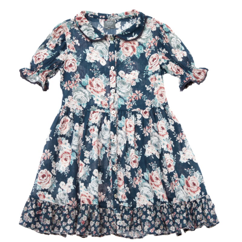 last 1【tocoto vintage】peter pan collar flowers dress