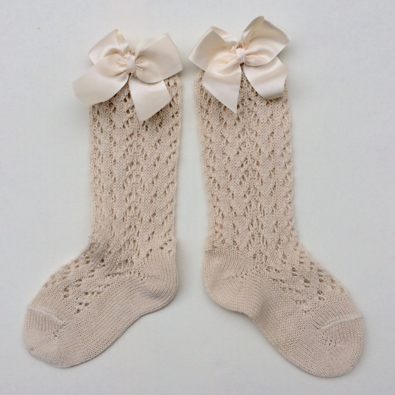 【condor】 ribbon open worksocks  linen