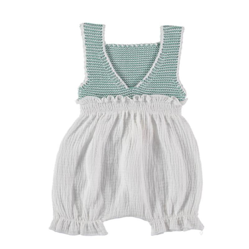 【liilu】 knit combi romper - mint