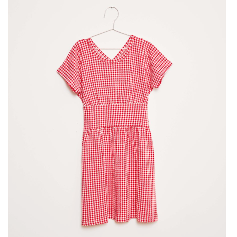 last 1【fish&kids】こども red VICHY DRESS