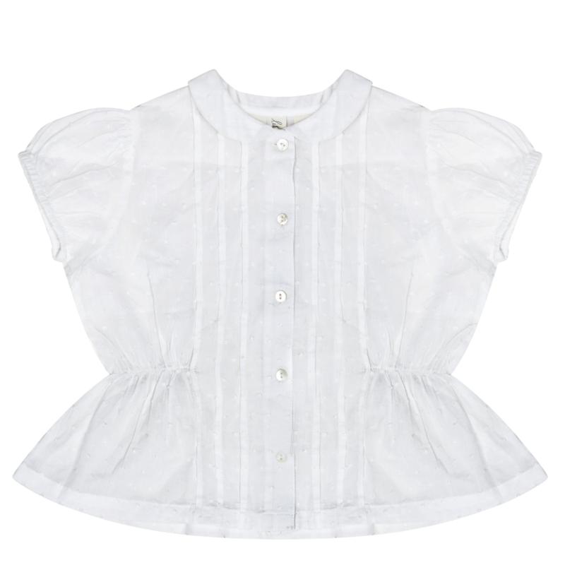 last 1【little cotton clothes】Dolly blouse white swiss dot