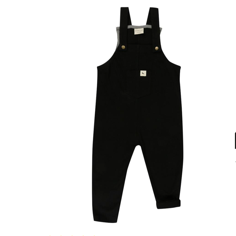 【turtledove london】Plain Black Easy Fit Dungaree