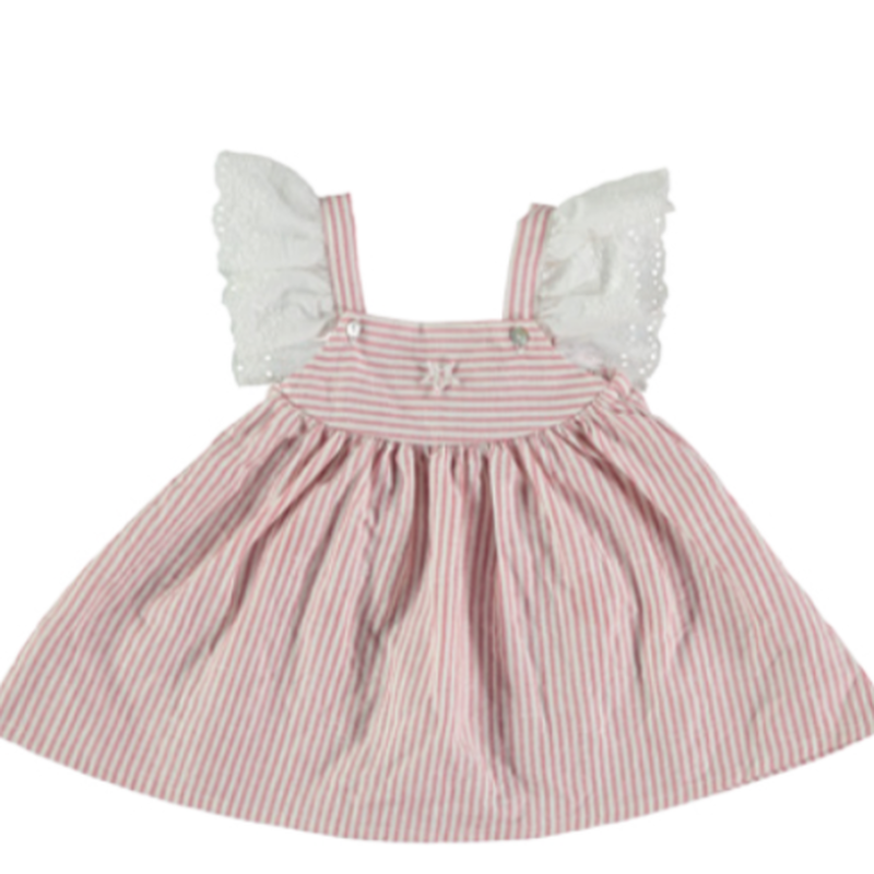 last1【tocoto vintage】 striped mini dress with swiss embroiderd sleeves - pink(2y,3y,4y)