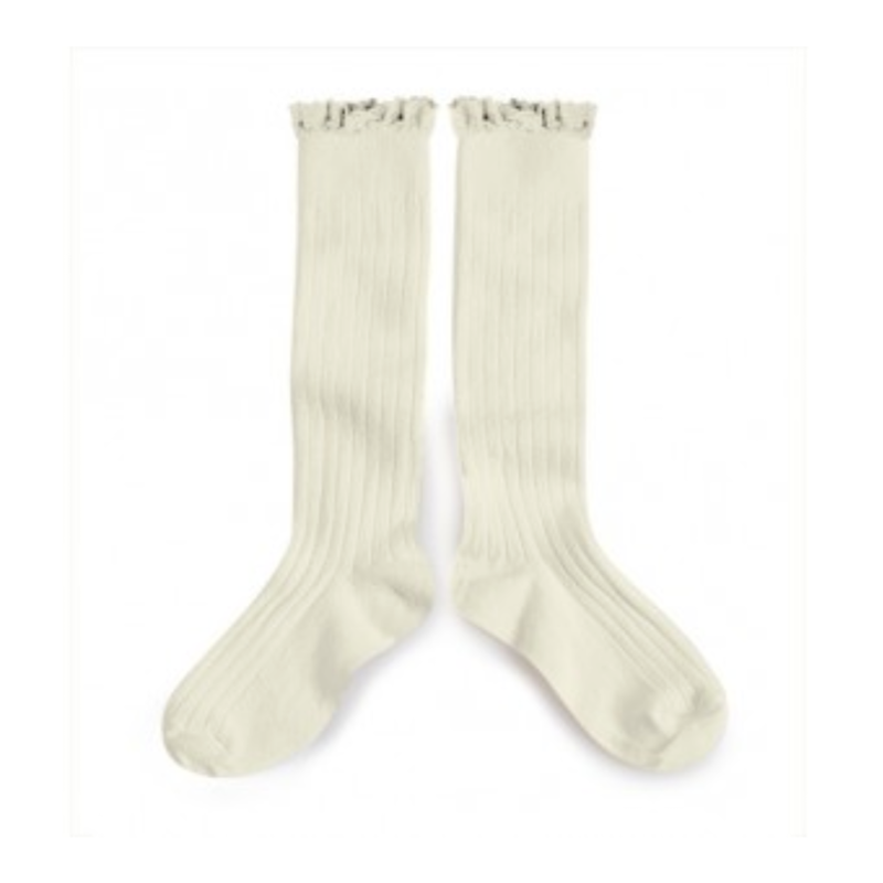 【collegien】 lace trim high socks