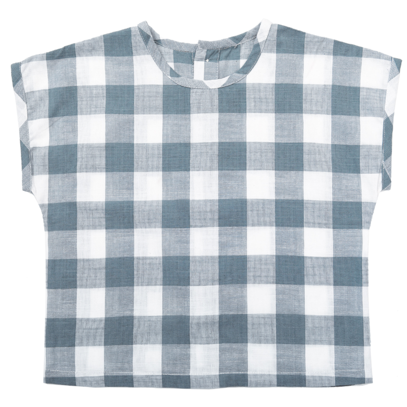 【little cotton clothes 】Margate tee blue textured gingham