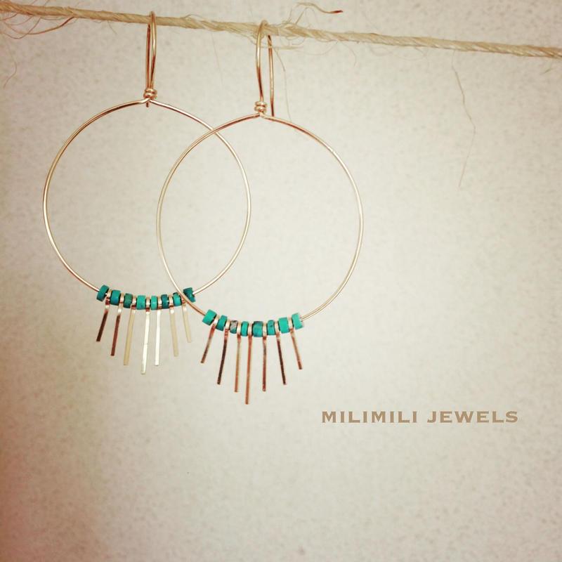 gold fringe turquoise hoop pierce
