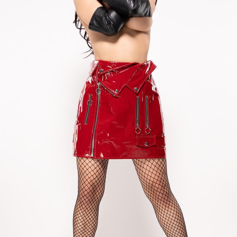 enamel/ライダースskirt  - Red Rouge-