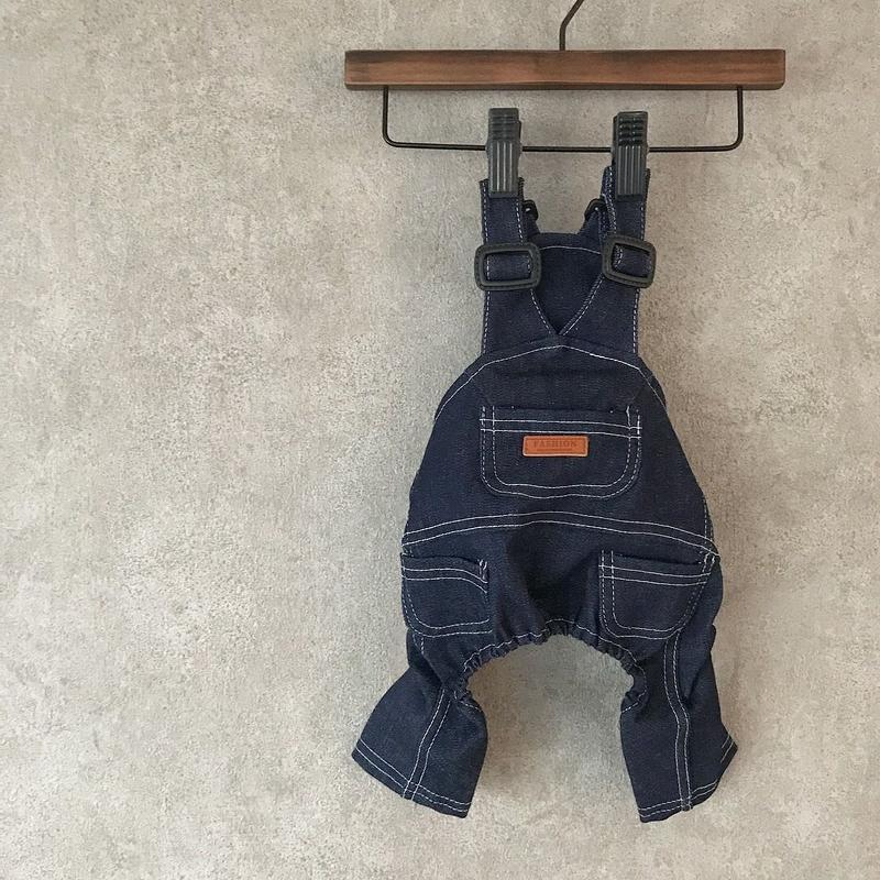 denim salopette  pants . [ blue ]