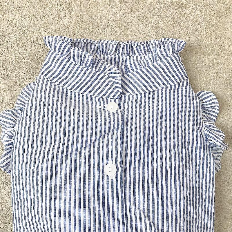 backbotão frill  shirt . [ blue ]