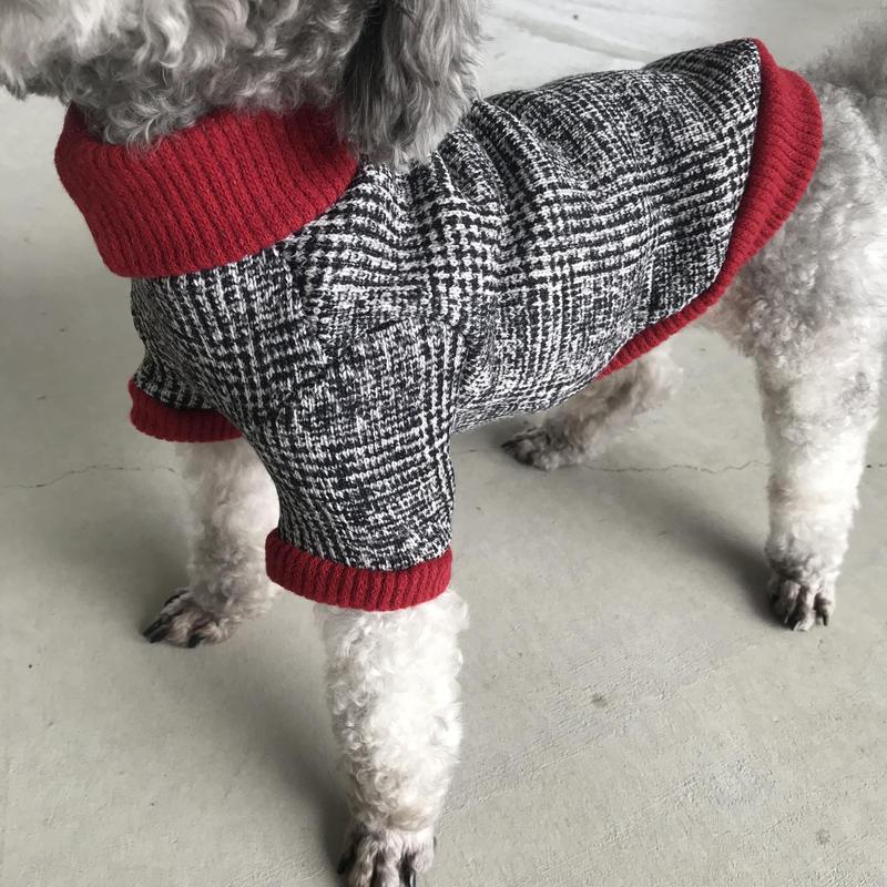 ORIGINAL tweed柄 turtle  knit .[ red  L , XL ]