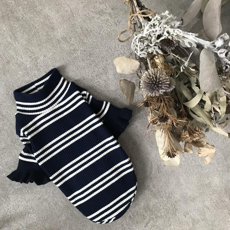 Frill boarder knit . [ navy ]