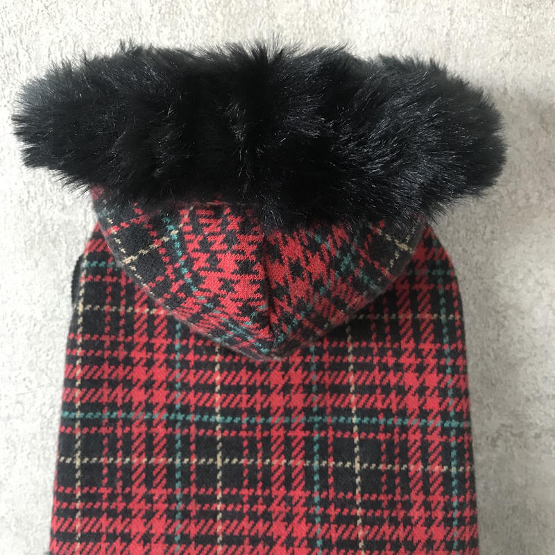 ORIGINAL fur hoodie . [ red XS , S , M ]