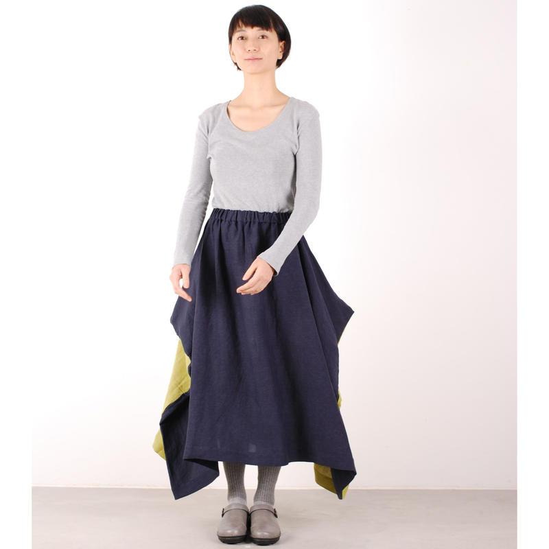 にこにこツートンシリーズ はばたきスカート(紺×若草)